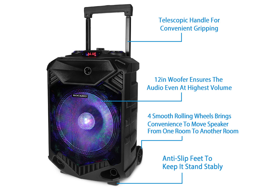 "12/"" Portable Bluetooth Speaker BT Party DJ PA System Wireless Stereo Loud w// Mic"