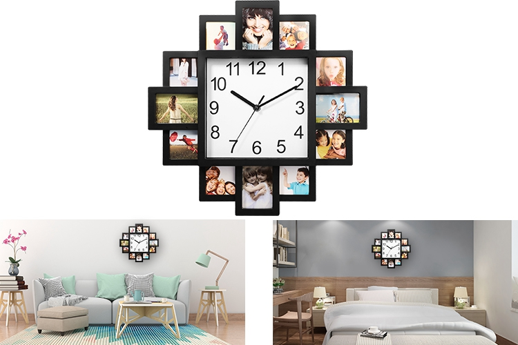 9067e509f08 Photo Frame Clock Picture Collage 12-Picture Display Wall Clock Photowall  Wall Hanging Home Decor