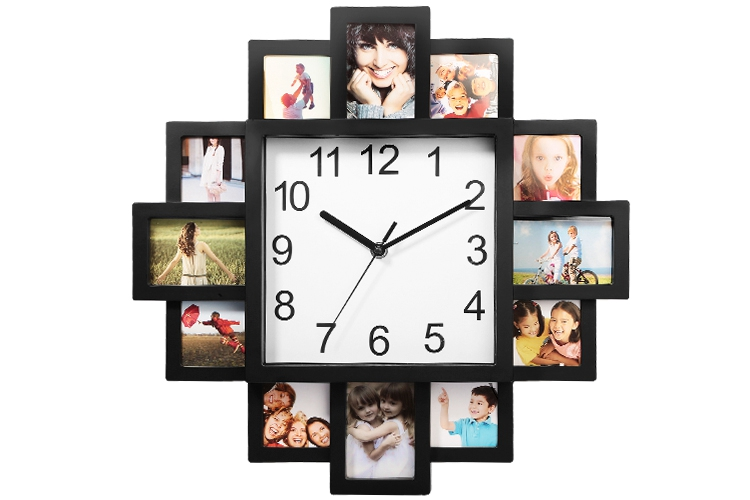 Details About 12 Frame Photo Wall Clock Modern Style Living Room Home Decor Art Design