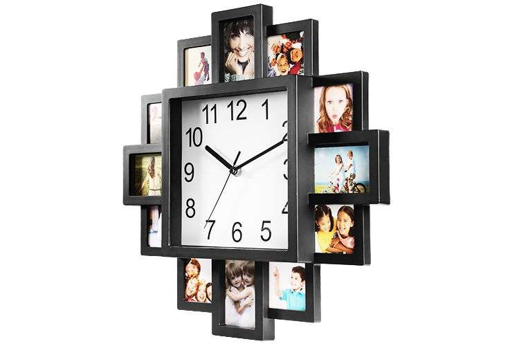 65573b7d217 Our photo frame clock properly integrates the 12-picture displaying photo  frame and traditional wall-mounted clock