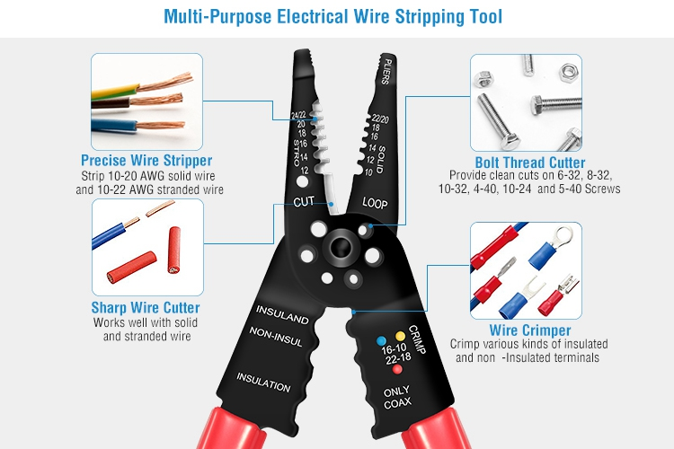 6.5/'/' Multi-Function Wire Cutter Stripper Stranded Wire Cutter 10-22 AWG