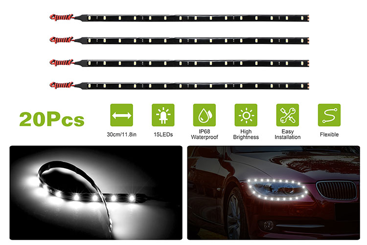 Details About Flexible Ip68 Waterproof 12v Motorcycle Car Auto Led Light Strip 20 X 11 8 Inch