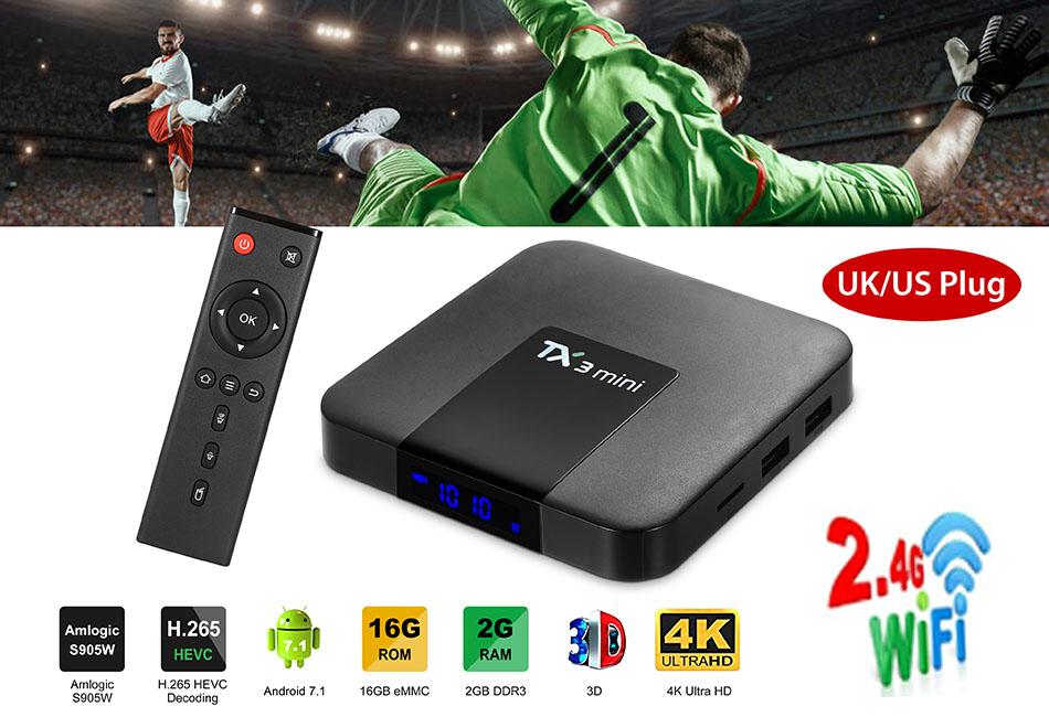 TX3 Mini Android 7.1 4K HDMI WiFi Media Player HD TV Box S905W 2GB 16GB 2.4GHz