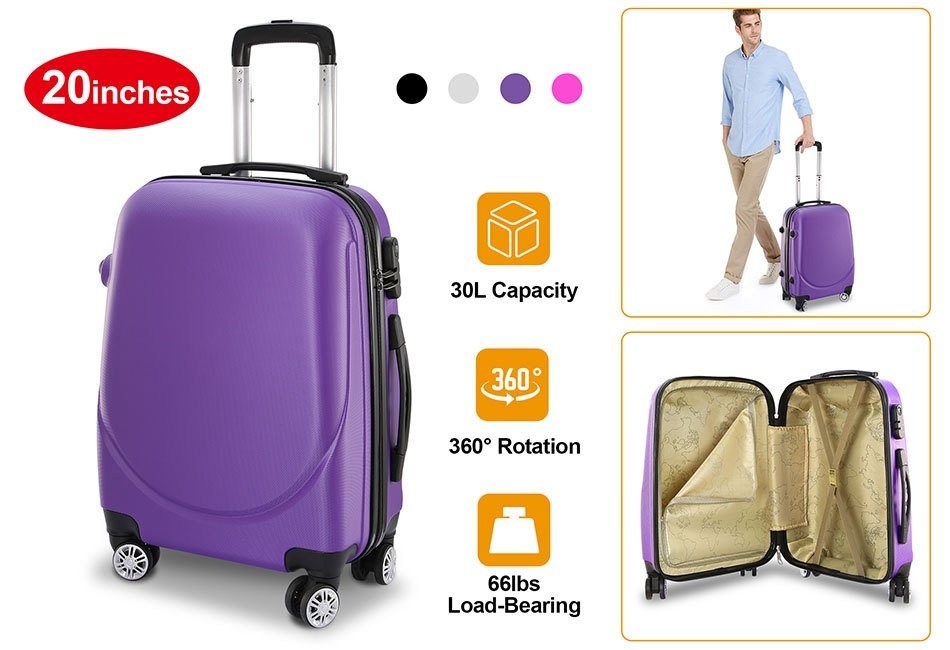 Lightweight Polycarbonate 4 Wheel Travel Luggage Suitcase,Hard Shell Carry On Hand Cabin Trolley Luggage Spinner Suitcase with Telescopic Handle,Password Lock and 360/° Rotation Wheel