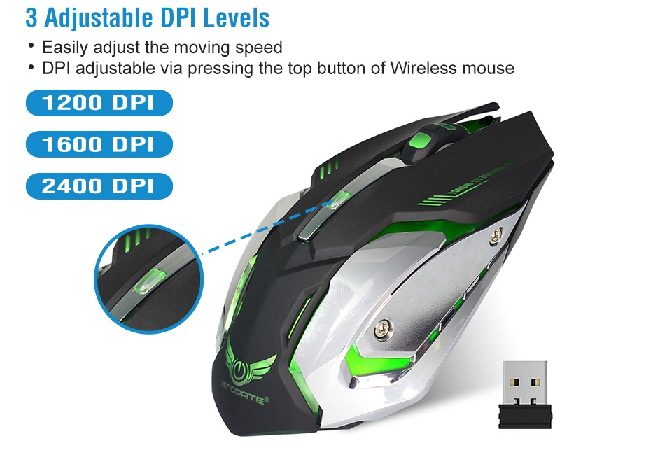 USB 2.4G Wireless Gaming Mouse Optical 7 Buttons Adjustable 2400DPI Rechargeable