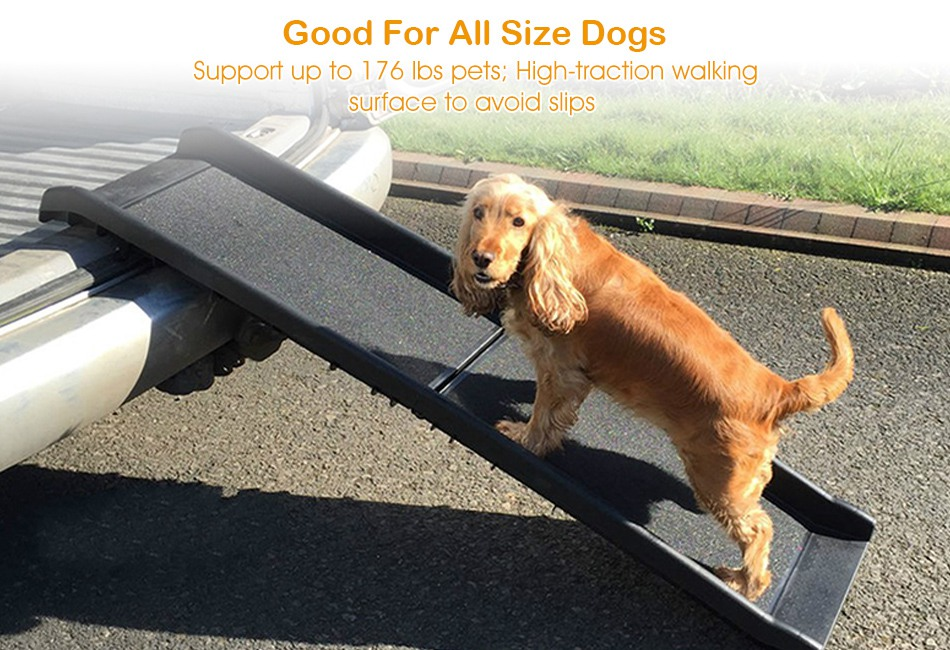 Dog Ramp For Car >> Details About Pet Dog Ramps For Car Suv Bed Truck Travel Non Skid Ramp Portable Safe 176lbs