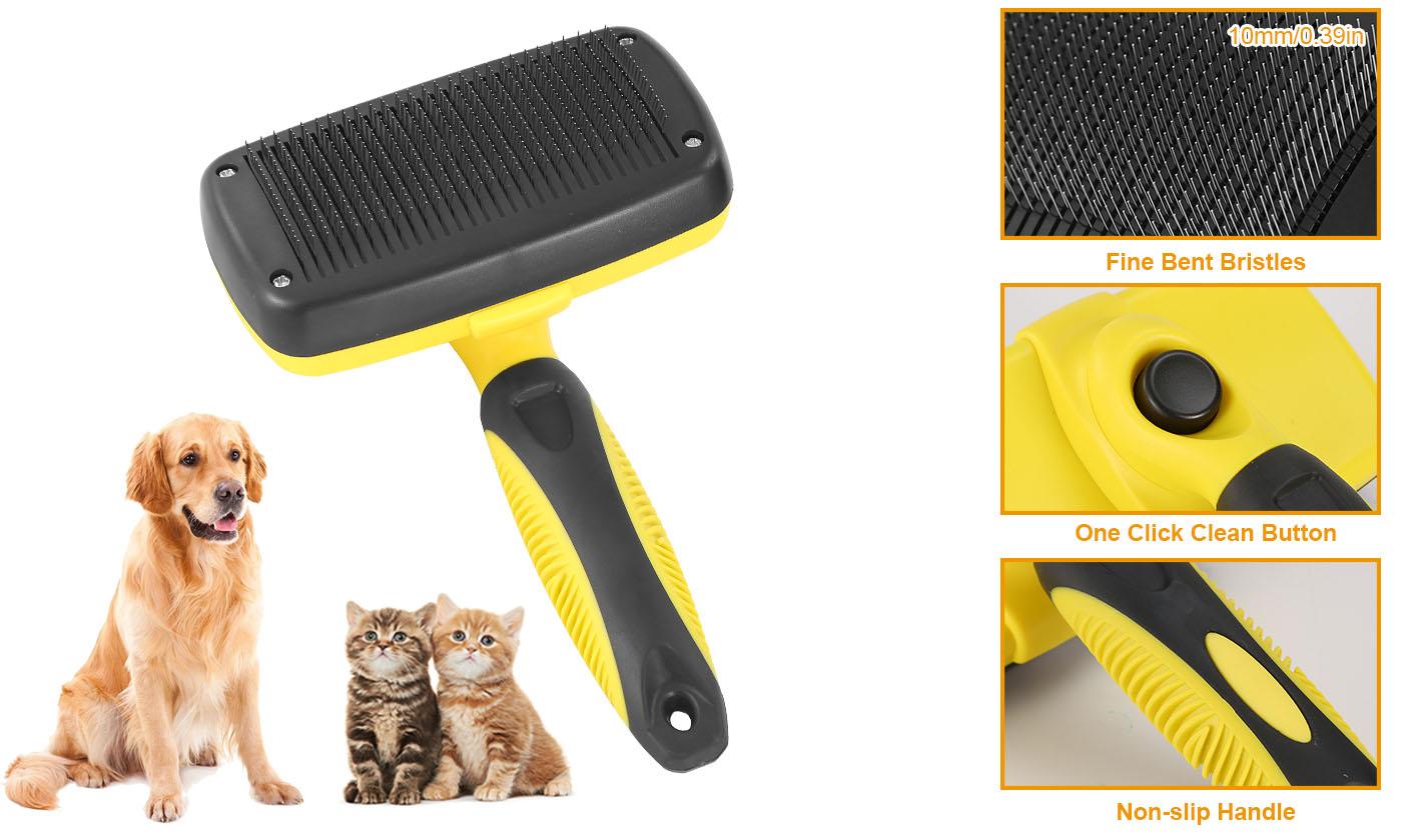 Pet Dog Cat Grooming Self Cleaning Slicker Brush Comb Hair Fur Shedding Tool New