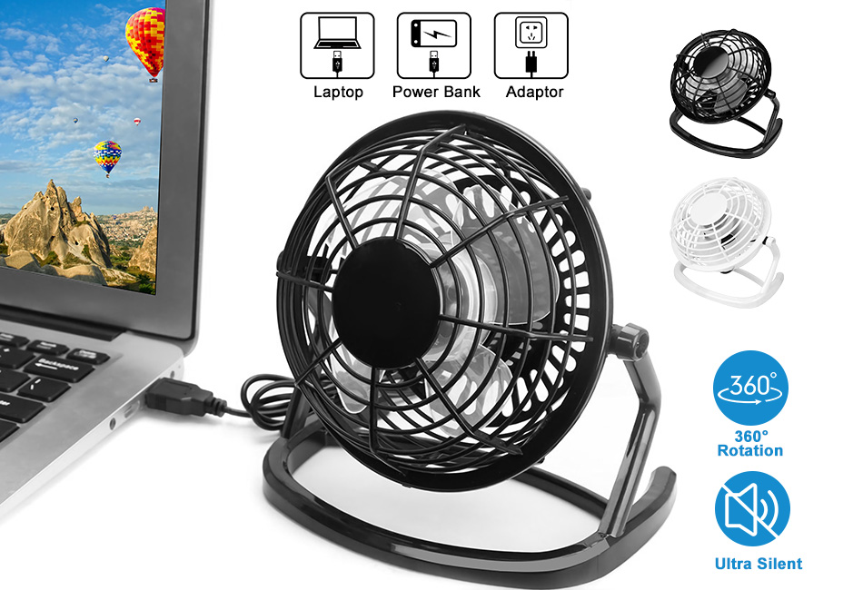 360° Portable Car Desk Fan Mini Fan USB Fan Desktop Desk Silent Laptop PC Quiet