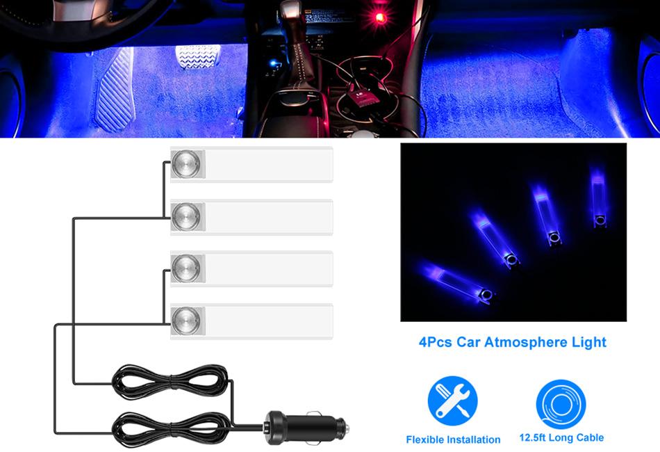 4x RGB LED Car Interior Light Kit Footwell Decorative Atmosphere Indoor Lamp