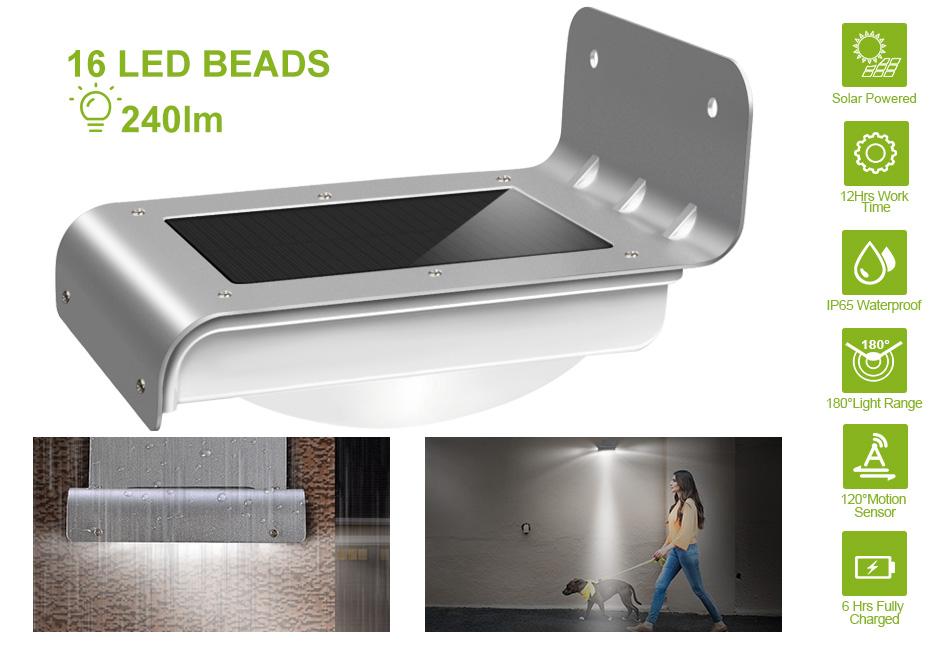 16 LED 800mAh Solar Power Motion Sensor Garden Security Lamp Outdoor Lights New
