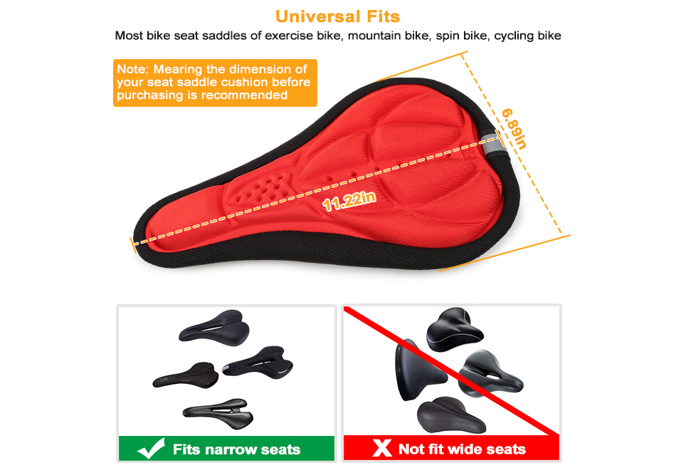 Cyrusher 3D Silicone Gel Saddle Cushion Bicycle Road Bike Gel MTB Seat Cover