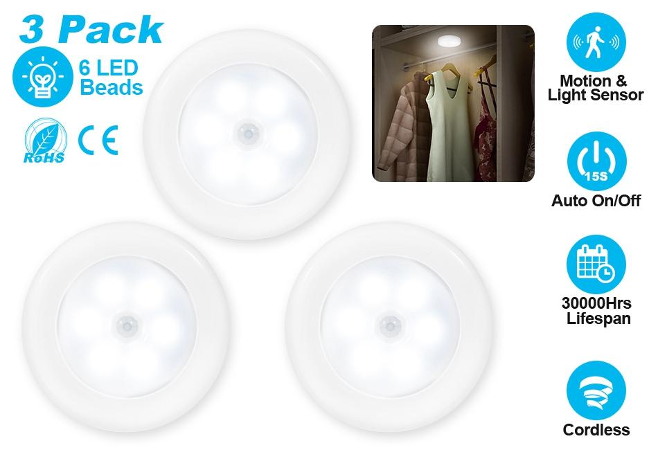 3 pack motion sensor 6 led night light cordless battery