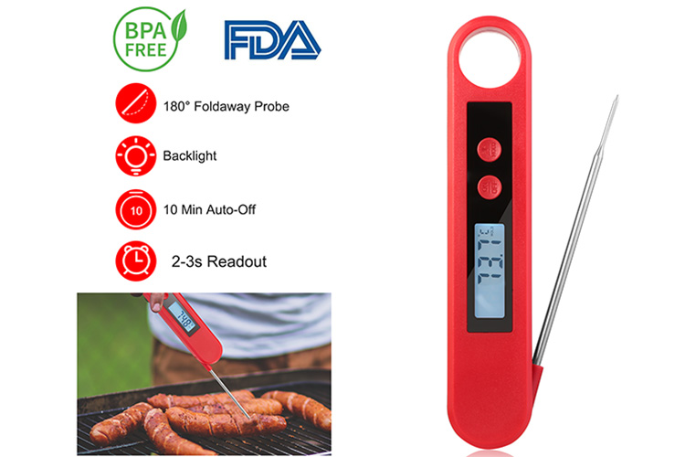 Foldable Digital Food Kitchen Cooking Meat BBQ Grill Thermometer Instant Read AO