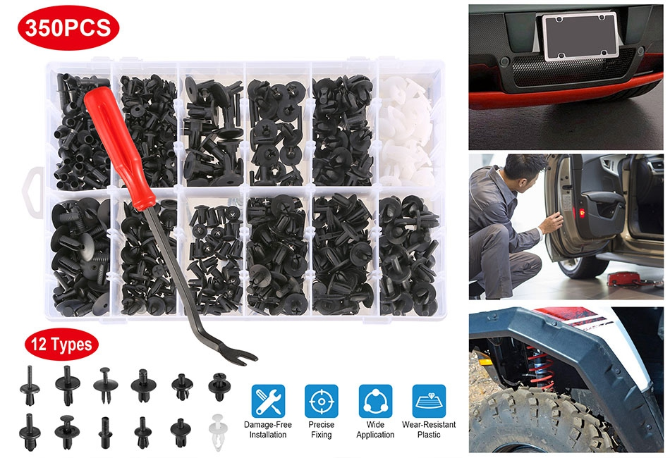 350pcs Car Push Retainer Pin Rivet Clip Trim Panel Moulding Fastener Assortment