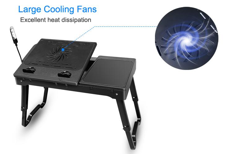 Foldable Laptop Table Tray Desk W Cooling Fan Tablet Desk