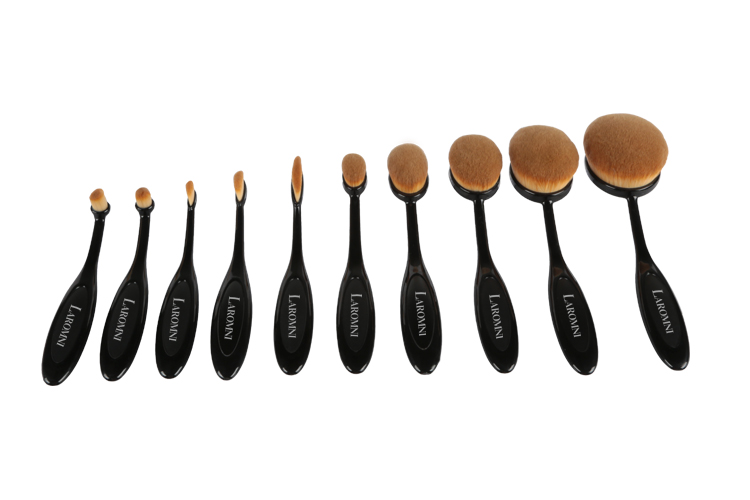 10Pcs Professional Makeup Brushes Set Oval Cream Puff Toothbrush Brush Black 2