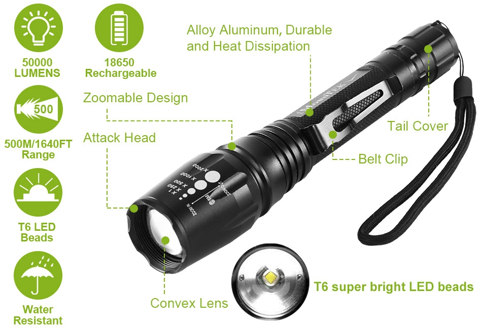50000LM T6 Tactical LED Flashlight Zoomable Torch Outdoor Lighting use 18650