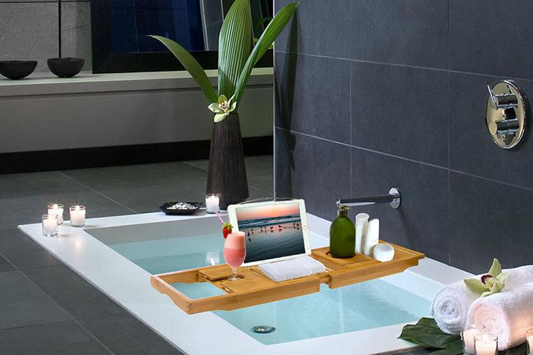 Bathtub Caddy Bamboo Bath Tub Rack Tray Bathroom Cloth Book/Pad ...