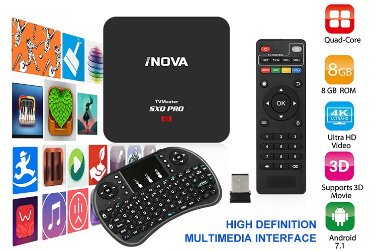 Details about New Smart TV Box Android 7 1 4K Quad-Core HDMI HD Media  Player + Mini Keyboard